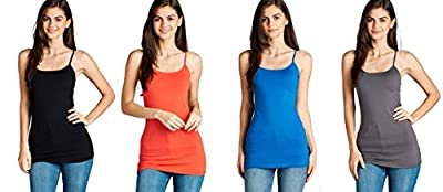 4 Pack Active Basic Women's Basic Tank Top (Black, Bright Coral, Bright Teal, Charcoal)