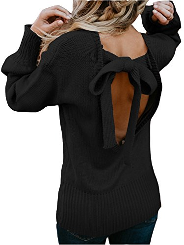 MarcoJudy Womens Open Back Bowknot Long Sleeve Knitted Casual Sweater Pullovers Black (Black Tie Sweater)