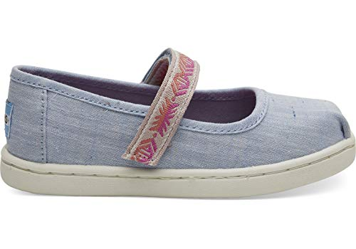 TOMS Kids Baby Girl's Mary Jane (Toddler/Little Kid) Light Bliss Blue Speckled Chambray/Global Webbing 10 M US Toddler