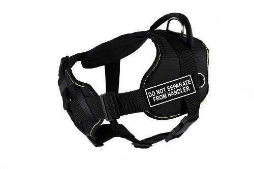 Dean & Tyler Fun Works Do not Separate from Handler Harness with Padded Chest Piece, X-Large, Fits Girth Size: 34-Inch to 47-Inch, Black with Yellow Trim