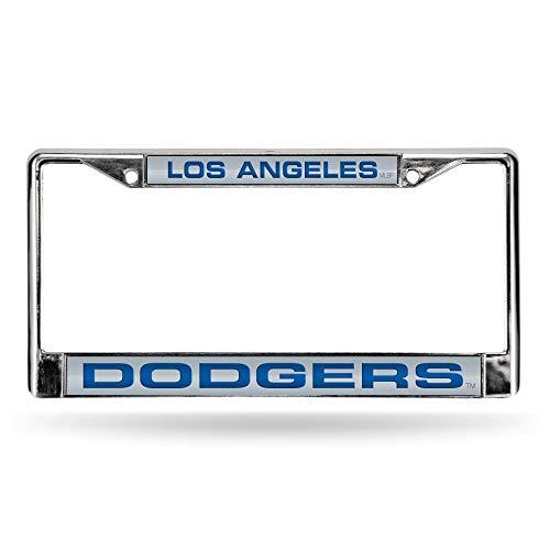 Rico Los Angeles Dodgers White MLB Chrome Metal Laser Cut License Plate Frame