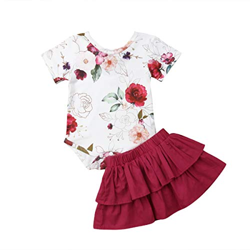 3 Piece Skirt Outfit - Infant Baby Girls Short Sleeve Rose Romper Ruffle Pleated Skirt Outfit Set 2 Pieces for 0-18 Months (3-6 M, Red)