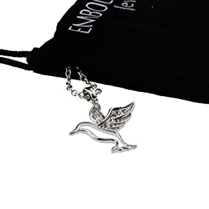 Silver Iced Out Crystal Paved Hummingbird Pendant Mood Necklace Fashion Jewelry Gift for Women Teen Girls
