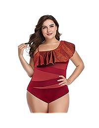Duevin Traje de baño de una Sola Pieza de Gran tamaño en Color sólido de Las Mujeres con Volantes elástico Traje de baño de una Pieza(2XL-Rojo Vino)