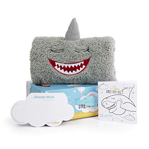 The Dream Pillow, a Fun Super Soft Plush Toy Pillow You Can Snuggle. Promotes Better Sleep Routine. Bundle Includes Pillow, Storybook and 60 Dream Wish Notes. (2 Pack) (1, White) (SHARKIE Gift)