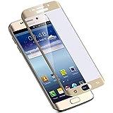 غطاء مع اطار ذهبي وواقي شاشة 2.0 لهواتف سامسونج غالاكسي اس7 ايدج (كيرفيد تيمبيرد)