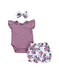 Firespit Newborn Kids Baby Girls Outfits Clothes Romper Bodysuit+Flower Print Shorts Set