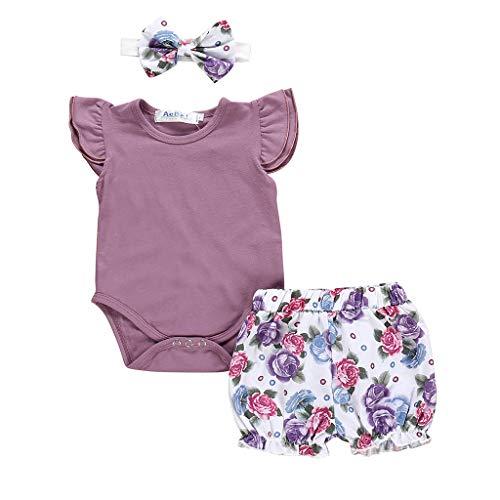 AutumnFall 0-24M Newborn Kids Baby Girls Outfits Clothes Romper Bodysuit Flower Print Shorts Set with Headband (Age:6-12 Months, Purple)