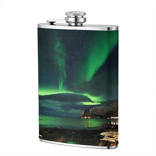Shot Flask - Aurora Day Camp Food Grade (304) Stainless Steel Flask Leakproof 8 Oz Hip Flask for Storing Whiskey Alcohol Liquor]()