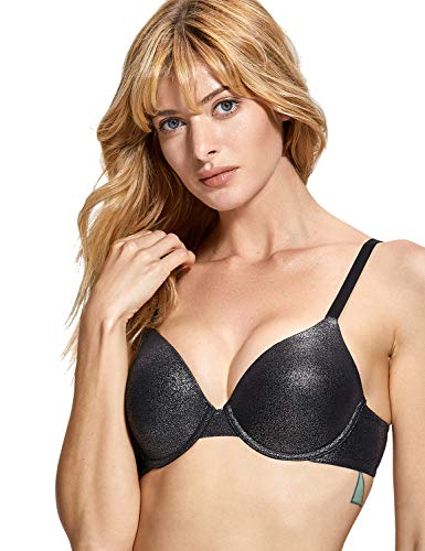 T-shirt Lightly Bra Lined (DOBREVA Women's Basic Underwired Plunge Lightly Lined Demi T-Shirt Bra Black 34B)