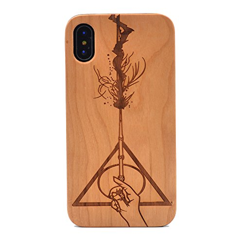 (iPhone X Wood Case, Deathly Hallows Handmade Carving Real Wood Case Wooden Case Cover with Soft TPU Back for Apple iPhone X (2017),iPhone)