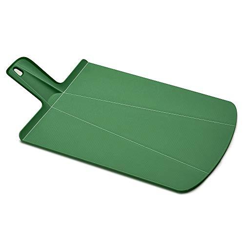 Joseph Joseph Chop2Pot Foldable Plastic Cutting Board 19 x 10.75 Non-Slip Feet 4-inch Handle Dishwasher Safe, Large, Forest Green
