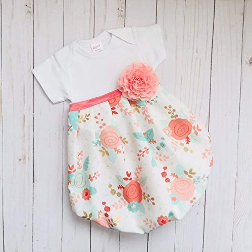 (Newborn Baby Gown for coming home outfit- coral)