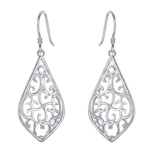 EVER FAITH Women's 925 Sterling Silver Vintage Floral Hollow Filigree Diamond-Shape Hook Earrings
