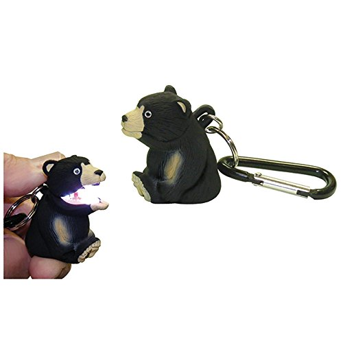 Black Bear Keychain - Sun Company Wildlight Animal Carabiner Flashlight | Animal Keychain Lights (Black Bear)