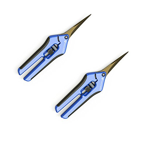 2 Pack Curved Tip Trimming Scissors with Spring-Loaded Comfort Grip Handles and Titanium Coated ()