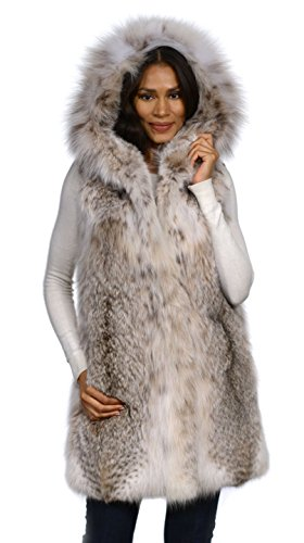 Canadian Lynx Fur Vest with Hood-M