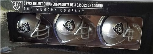 The Memory Co Oakland Raiders 3 Pack Helmet Ornament Set