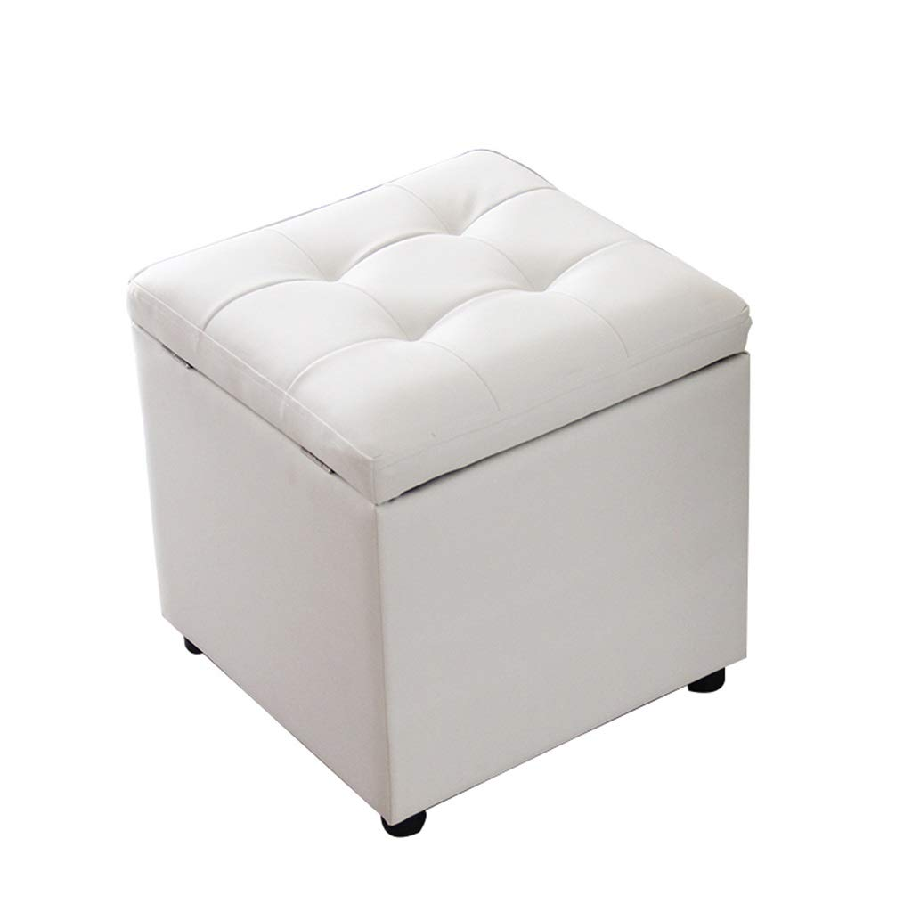 LIYIN-Footstool Upholstered Toy Box Storage Makeup Stool Footstool Footrest Ottoman White PU Leather Waterproof for Kids & Adults for Indoor and Outdoor Max Load 150KG