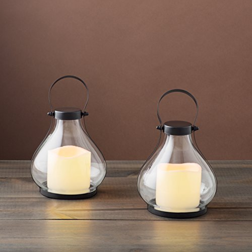 - Mini Flameless Candle Lanterns - Decorative Metal and Glass Lantern Set, 8.5 Inch Height, Flickering LEDs, Indoor/Outdoor Use - 2 Pack