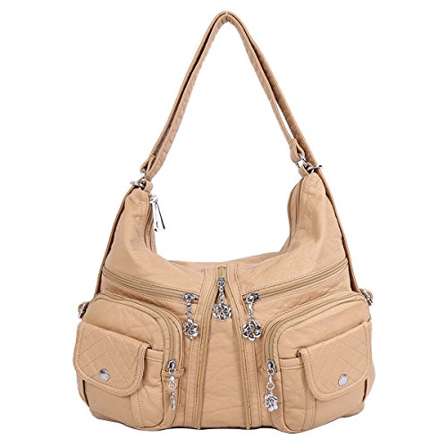 Backpack Bags Beige Multi Leather Washed 2 Handbags Shoulder Pockets AK678 Purses Zippers Women Angelkiss Top qtPp6vxw