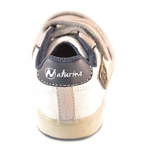 Naturino - Naturino Scarpe Bambino Bianca Blu Navy Strappi Velcro Sport 376 - Bianco, 24