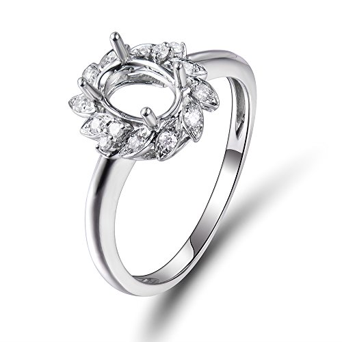 (Lanmi Women's Oval 5X7mmmm Oval Natural Diamond Semi Mount Wedding Engagement Ring Set 14K White Gold)