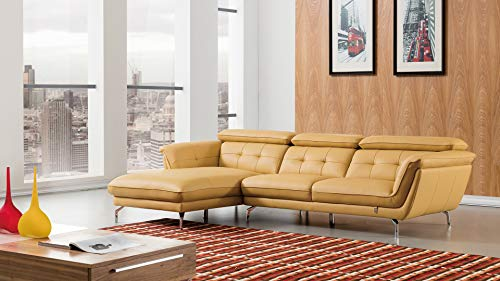 - American Eagle Furniture EK-L083R-YO.V2 Fremont Modern Italian Leather Left Facing Sectional Sofa, 115