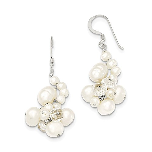 Sterling Silver Dangle Shepherd hook Clear Crystal White Freshwater Cultured Pearl -