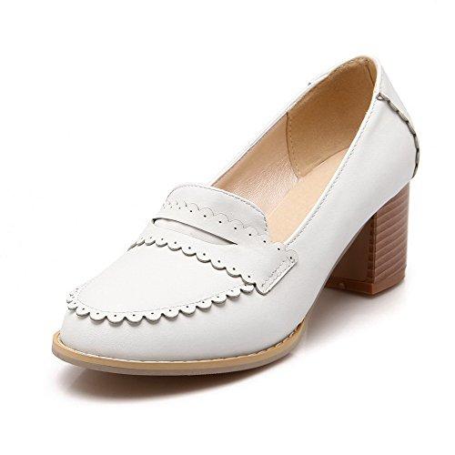 AllhqFashion Damen Rein Weiches Material Ziehen auf Rund Zehe Pumps Schuhe Weiß