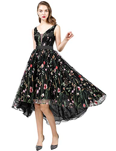 YSMei Women's High Low V-Neck Prom Dress Floral Embroidered Tulle Evening Gown Black 14