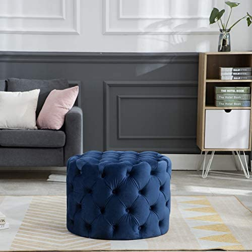 Kmax Round Velvet Ottoman, Classic Button Tufted Ottoman Living Room Footrest, 23.62 x 23.62 x 17.72 Blue