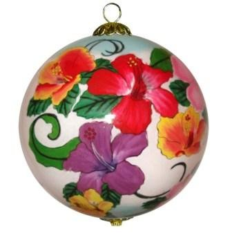 Maui by Design Colorful Hibiscus Hawaiian Christmas Ornament Hand Painted Glass with Gift Box -