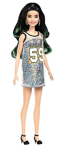 Boneca Barbie Fashionista 110 Morena Raquelle Mechas Vestido Los Angeles