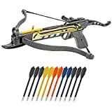 KingsArchery Crossbow Self-Cocking 80 LBS with Adjustable Sights, 3 Aluminium Arrow Bolts, and Bonus 12-Pack of Colored PVC Arrow Bolts Warranty