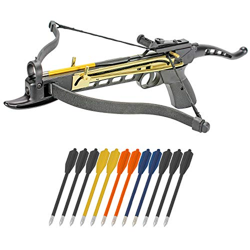 KingsArchery Crossbow Pistol Self Cocking 80 LBS with Adjustable Sights, Aluminum Arrow Bolts, and Safety Feature