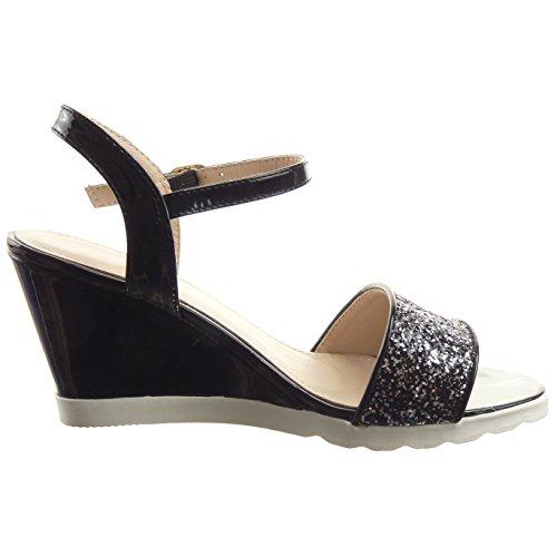 Sopily - damen Mode Schuhe Sandalen Offen Plateauschuhe glänzende Strass - Schwarz