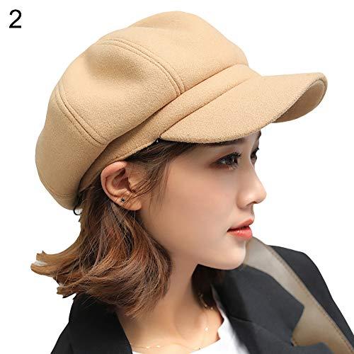Khkadiwb Autumn Winter Beret British Felt Solid Color Wide Brim Women Beret Winter Warm Peaked Cap Hat - Yellow