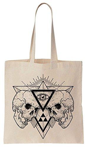 Skulls And Eye Triangle Design Sacchetto di cotone tela di canapa