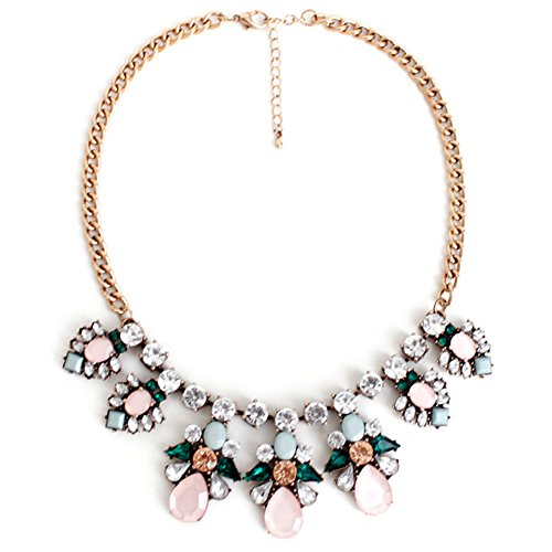 Statement Necklace (Flower Angel Wings Pink Teardrop Pendant Necklace Statement Necklace Collar Necklaces for Women)