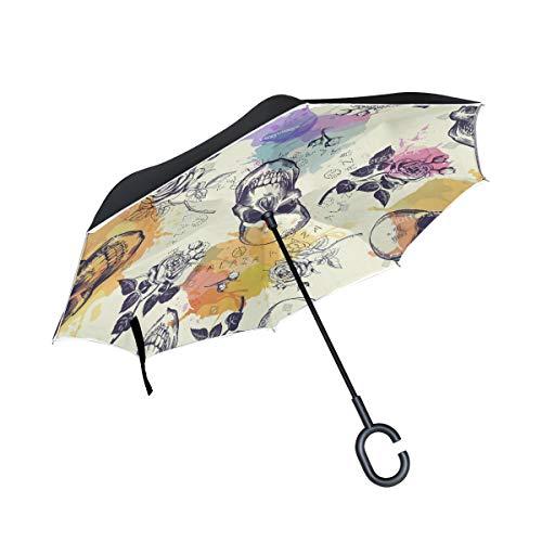 Beautiful White Mandala Inverted Umbrella Double Layer Windproof UV Protection Compact Car Reverse Umbrella -
