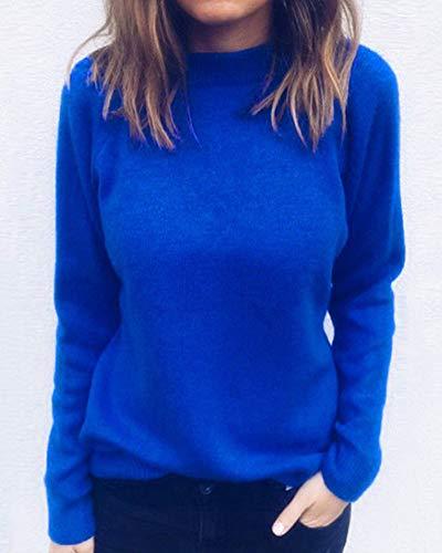 en Unie Casual V Tricots Bleu Col Large Couleur Jumper Femme Manches Saphir Pull Longues SIq6vv