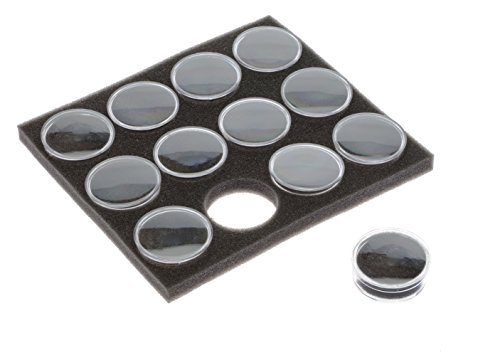 SE GJ846BK Clear Round Display Boxes with Snap-On Lids and Black Foam Fillers (Pack of 12)