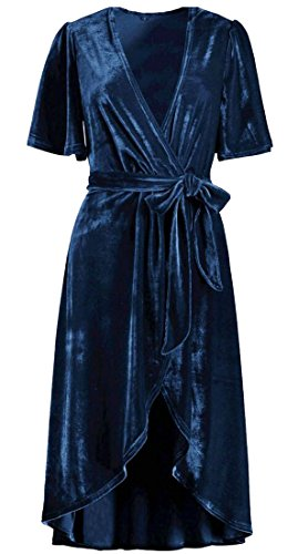 Jaycargogo Chaud Velours V Mancherons Col Robe Maxi Wrap Party Femmes 1