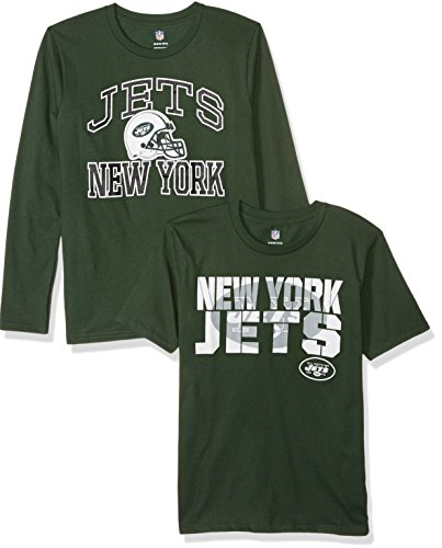NFL New York Jets Youth Boys 8-20 Short/Long Sleeve Combo Pack, Large (14-16), Assorted