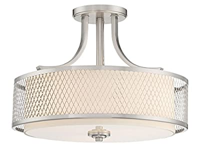 "Revel Linx 16"" Semi-Flush Mount Ceiling Light Fixture + Outer Mesh Shade and Inner White Fabric Shade, Brushed Nickel Finish"