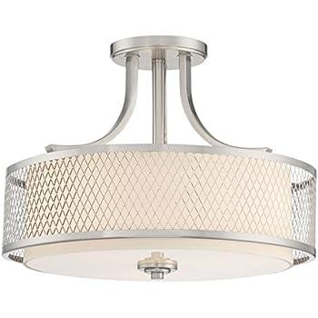 Allegro semi flushmount ceiling lamp 3 light fixture brushed revel linx 16 semi flush mount ceiling light fixture outer mesh shade and aloadofball Choice Image