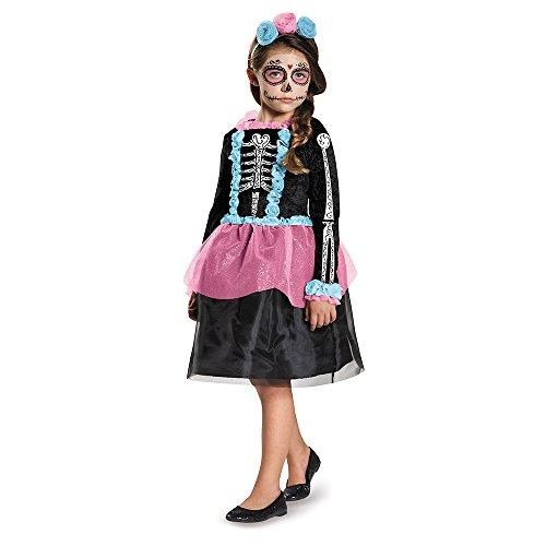 Dia De Los Muertos Costume Girl (Disguise 84064L Sweet Skeleton Costume, Small (4-6x))