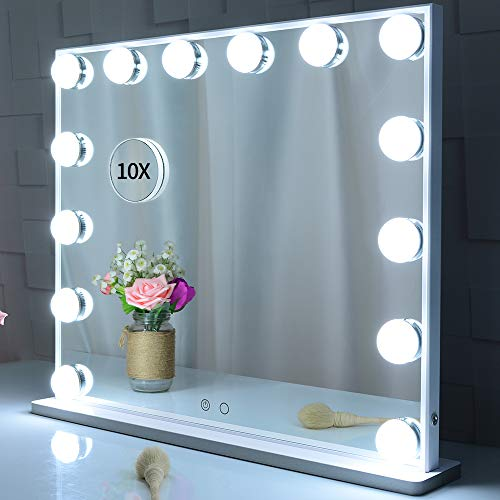 BEAUTME Lighted Vanity Mirror with 14 Led Bulbs Lights Replaceable,Hollywood Style Makeup Cosmetic Mirrors with Touch…