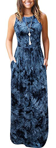 Aliling Women's Round Neck Sleeveless A-line Casual Dress Fashion Tie Dye Maxi Long Dresses with Pockets Dark Blue M